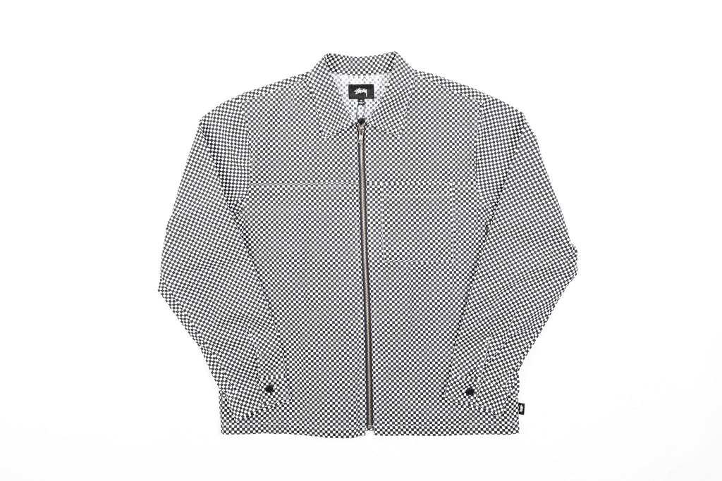 STUSSY MINI CHECK FULL ZIP L/S SHIRT