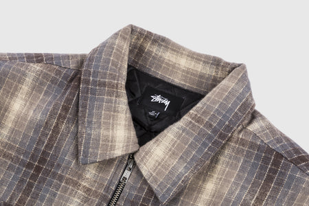 STUSSY HEAVY BRUSH PLAID ZIP-UP SHIRT