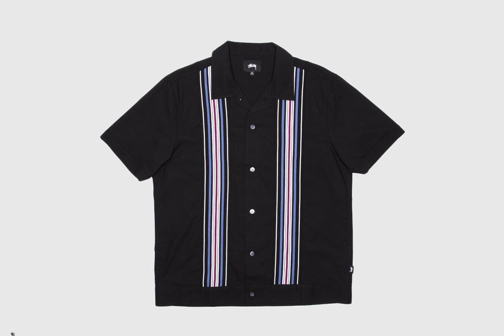 STUSSY STRIPED KNIT PANEL SHIRT