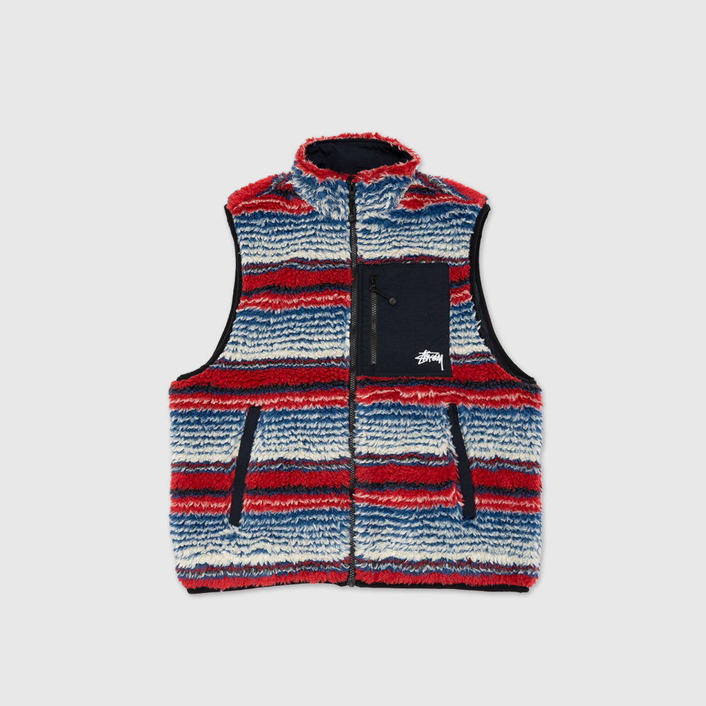 STUSSY STRIPED SHERPA VEST