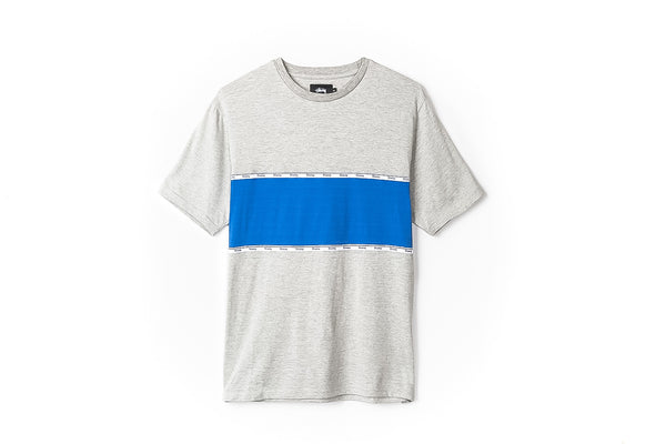 STUSSY TAPE STRIPE S/SL CREW - GREY HEATHER