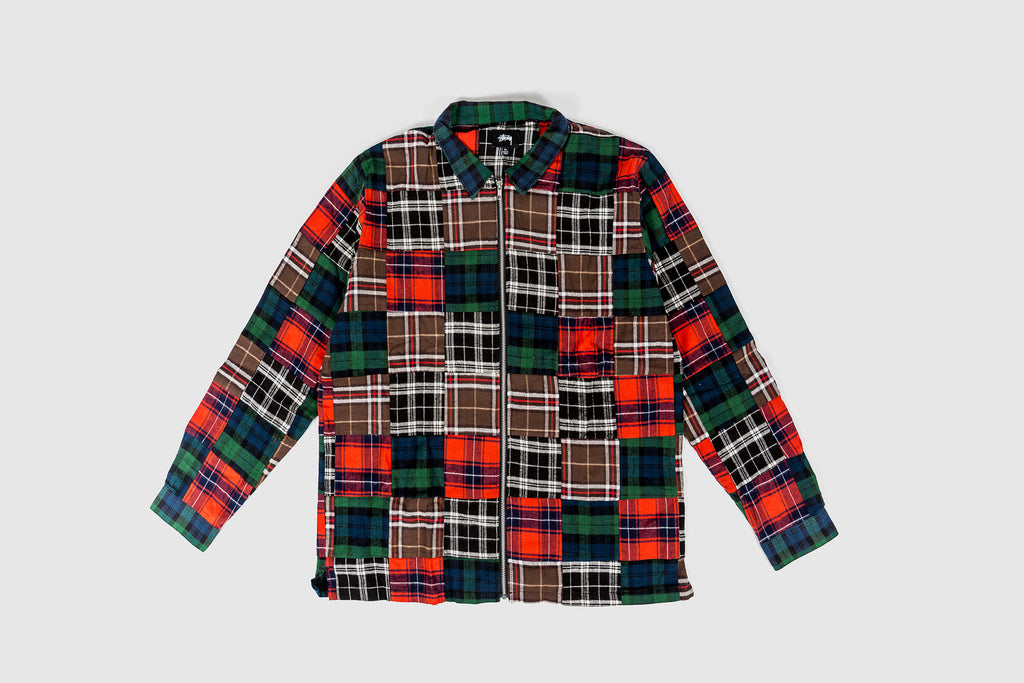 STUSSY PATCHWORK ZIP UP L/S FLANNEL SHIRT