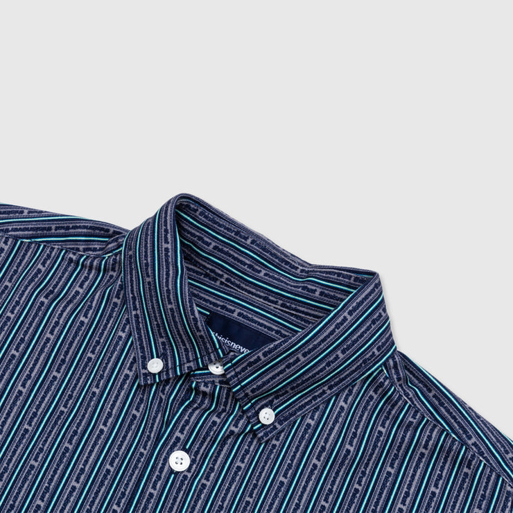THISISNEVERTHAT LOGO STRIPE BUTTON-UP SHIRT