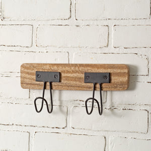 Industrial Wood and Metal Two Hooks - Set of 2