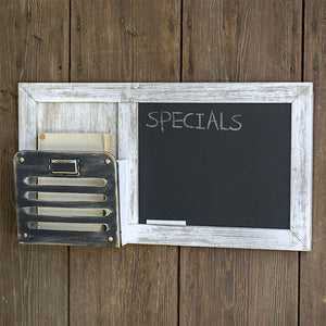 Distressed Chalkboard with Metal Pocket Organizer