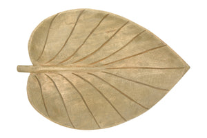 Hand-Carved Mango Wood Leaf Shaped Tray