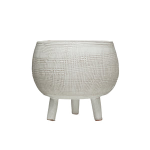 Textured White Footed Terracotta Planter