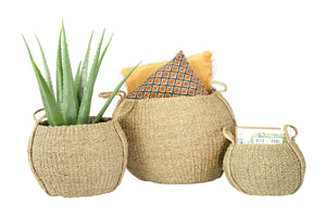 Round Handwoven Seagrass Baskets with Handles - Set of 3 Sizes