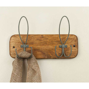 Rustic Wood and Metal Loop Hooks - Set of 2