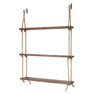 Three-Tiered Wood Shelf with Hanging Rope