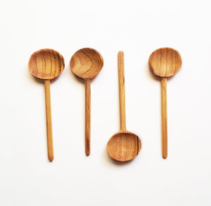 Hand-Carved Olive Wood Coffee Spoon Set
