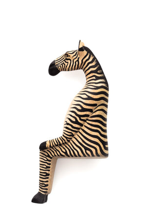 Hand-Carved Sitting Zebra
