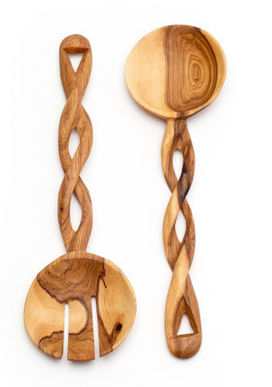 Hand-Carved Olive Wood Spiral Salad Servers