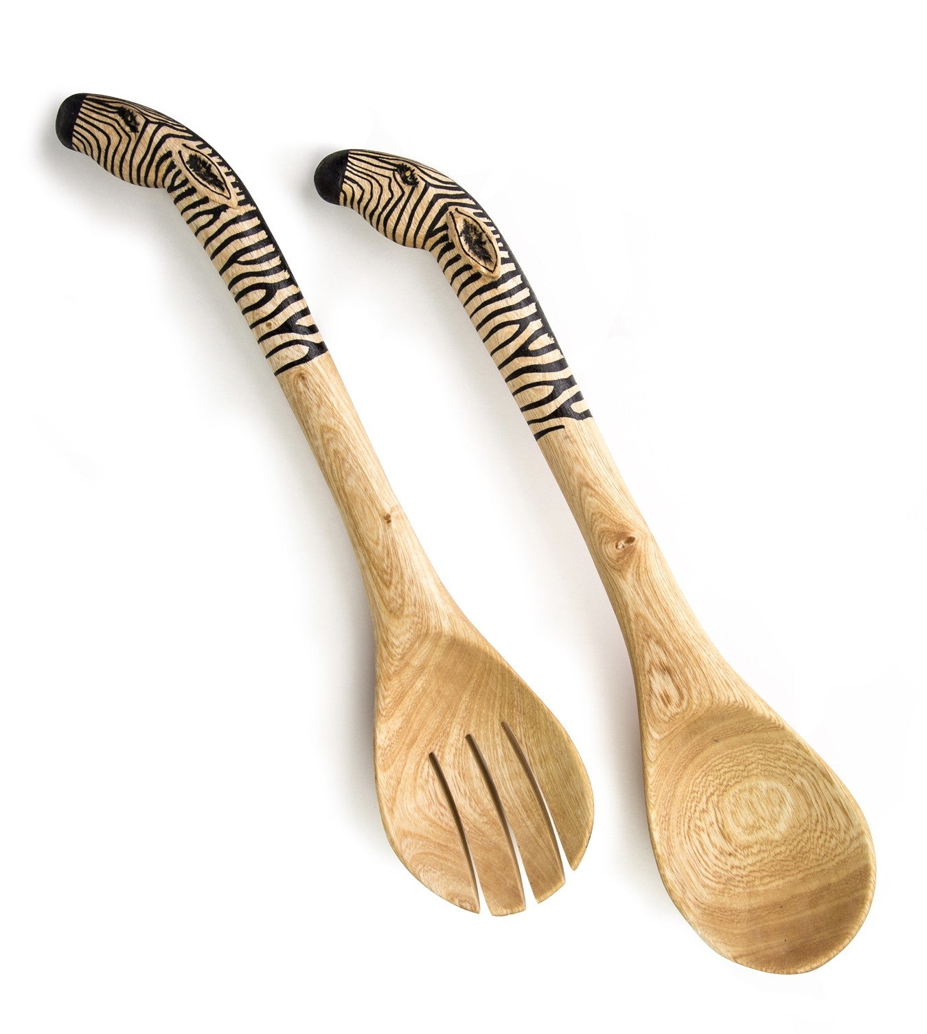 Hand-Carved Zebra Salad Spoon