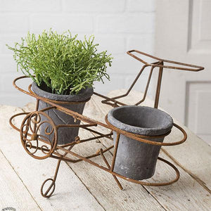 Airplane with Gray Terra Cotta Pots Planter
