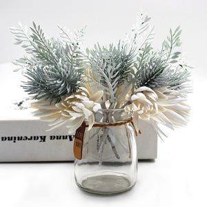 Artificial Frosted Pine Branch White Flower Set