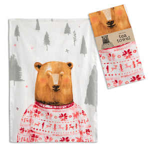 Bear in a Red Sweater Tea Towel - Set of 4