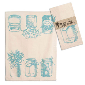 Blue Canning Jars Print Tea Towel - Set of 4