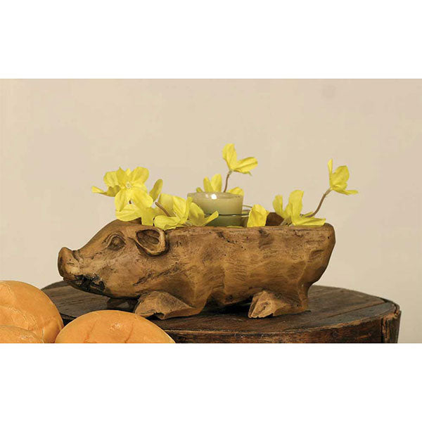 Treen Pig Resin Carved Wood Bowl