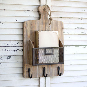 Cutting Board Coat Rack with Basket