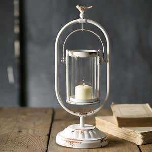 Distressed Candle Holder with Hanging Glass