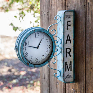 Blue Farm Station Clock Side Hanging