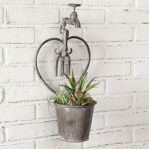 Rustic Wall Planter with Heart Shaped Faucet