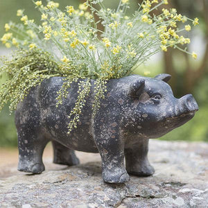 Large Vintage Black Pig Resin Planter