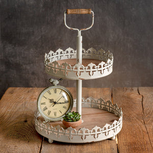 Distressed White Two-Tier Round Tray with Wood Handle