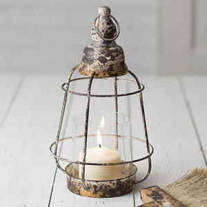 Rustic Industrial Pillar Glass Lantern