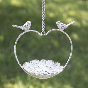 Heart Shaped Birdfeeder with Two Birds