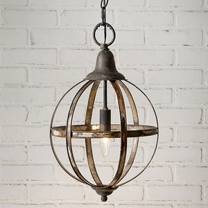 Rustic Metal Open Sphere Pendant Light