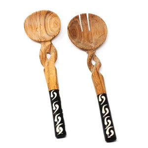 11-Inch Olive Wood Salad Serving Set with Twisted Handles - Jedando Handicrafts