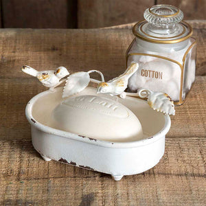 Birds Perched on Distressed Soap Tray