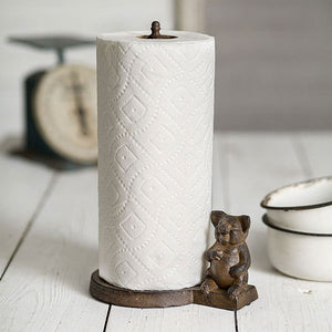 Rustic Cast Iron Pig Paper Towel Holder