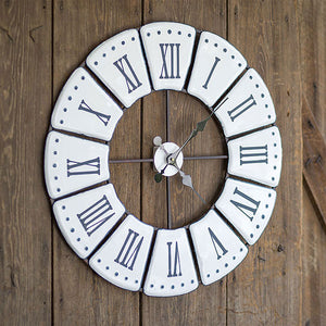 White Roman Numeral Wall Clock