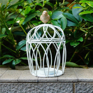 Vintage Iron Bird Cage Candle Holder