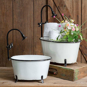 Set of Two White Clawfoot Tub Planter