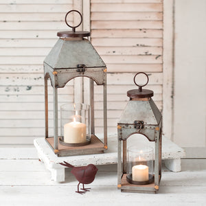 Rustic Metal Candle Lanterns with Wood Base - Set of 2