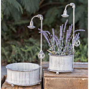 Distressed Ribbed Round Tub with Shower Head Planter