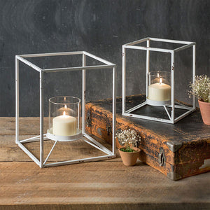 White Metal Square Votive Candle Holder - Set of 2
