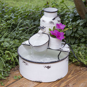 Milk Jug and Container Sitting Garden Fountain