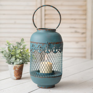 Rustic Aqua with Anchor Detail Lantern