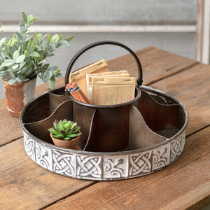 Six Compartments Round Storage Metal Caddy