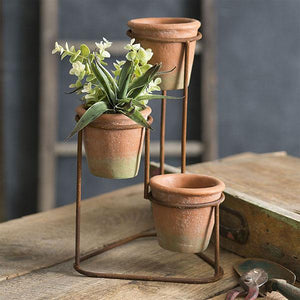 Terra Cotta Pots Three-Tiered Planter