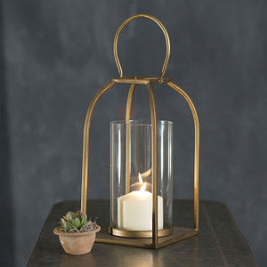 Gold Curve Lantern with Tall Votive Glass