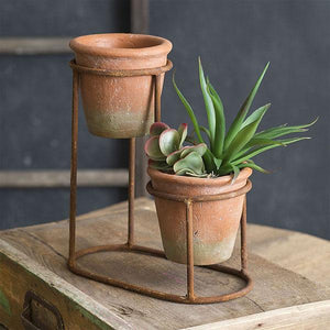 Terra Cotta Pots Two-Tiered Planter