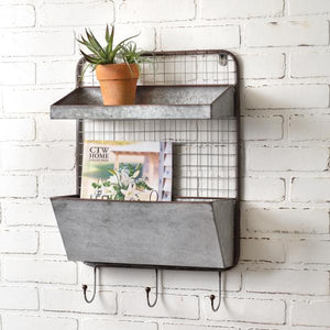 Wall Pocket Shelf Three Hooks Organizer
