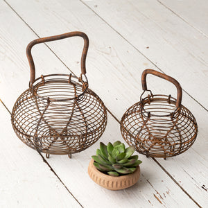 Brown Round Wire Egg Baskets - Set of 2