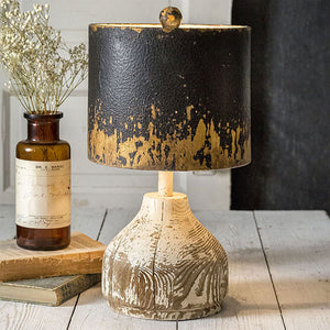 Black and Gold Metal Lamp with Wooden Base